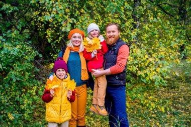 Family in an autumn park