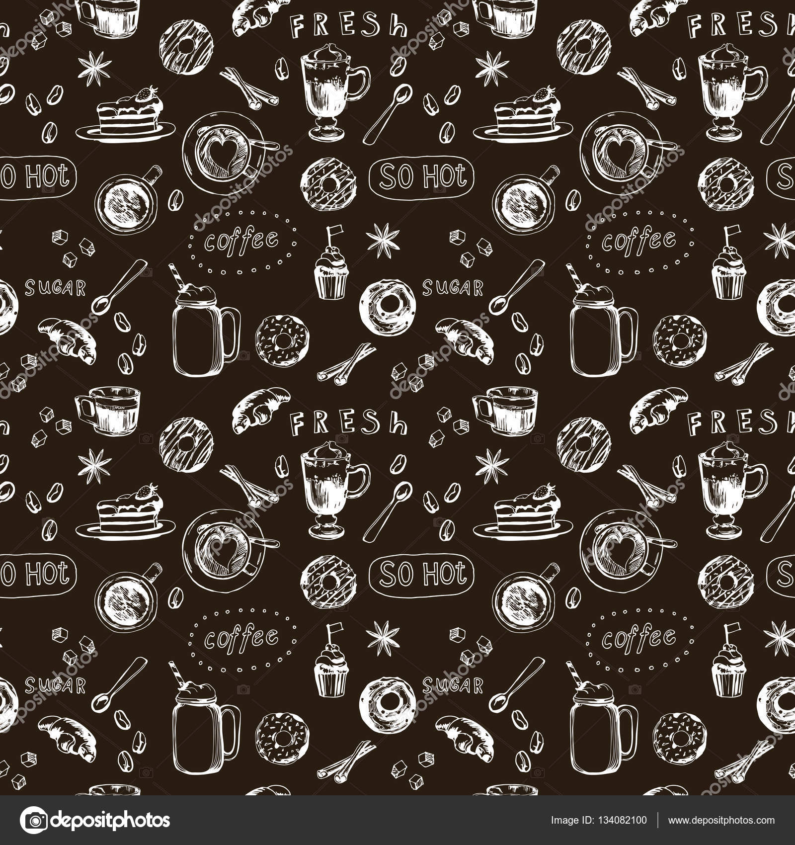 seamless doodle coffee pattern - photo #7