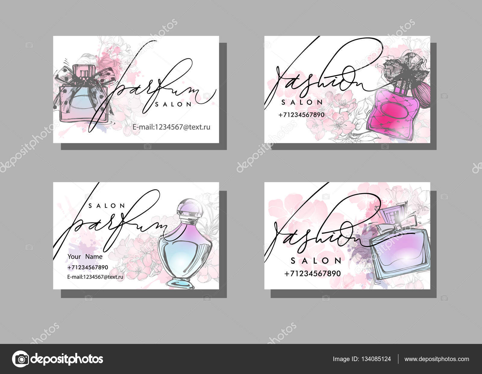 Makeup artist business card. Vector template with Beautiful ...