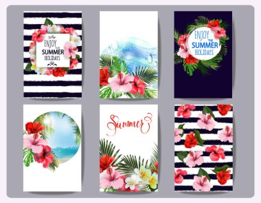 Tropical printable set. Vector cards, notes and banners with toucan, Beach, palm trees, Hibiscus Flower, beautiful panoramic sea view, with clean water blue sky. Template Vector.