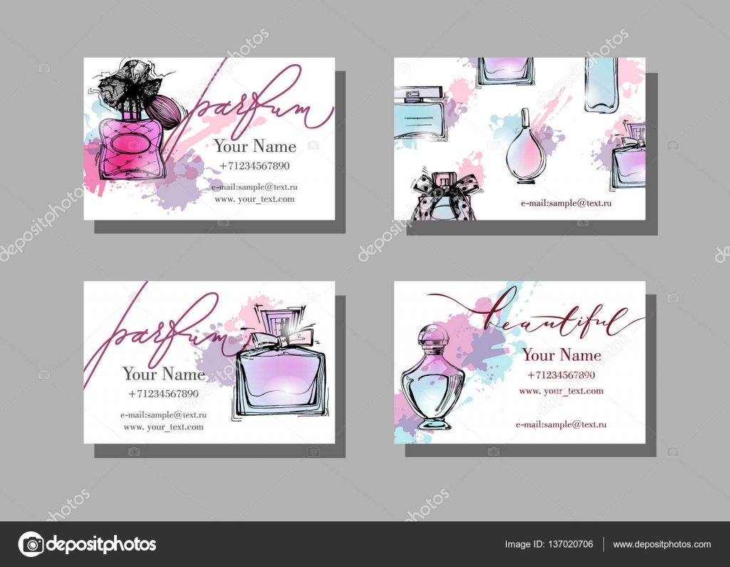 Makeup artist business card vector template with beautiful makeup artist business card vector template with beautiful perfume bottle fashion and beauty background alramifo Image collections