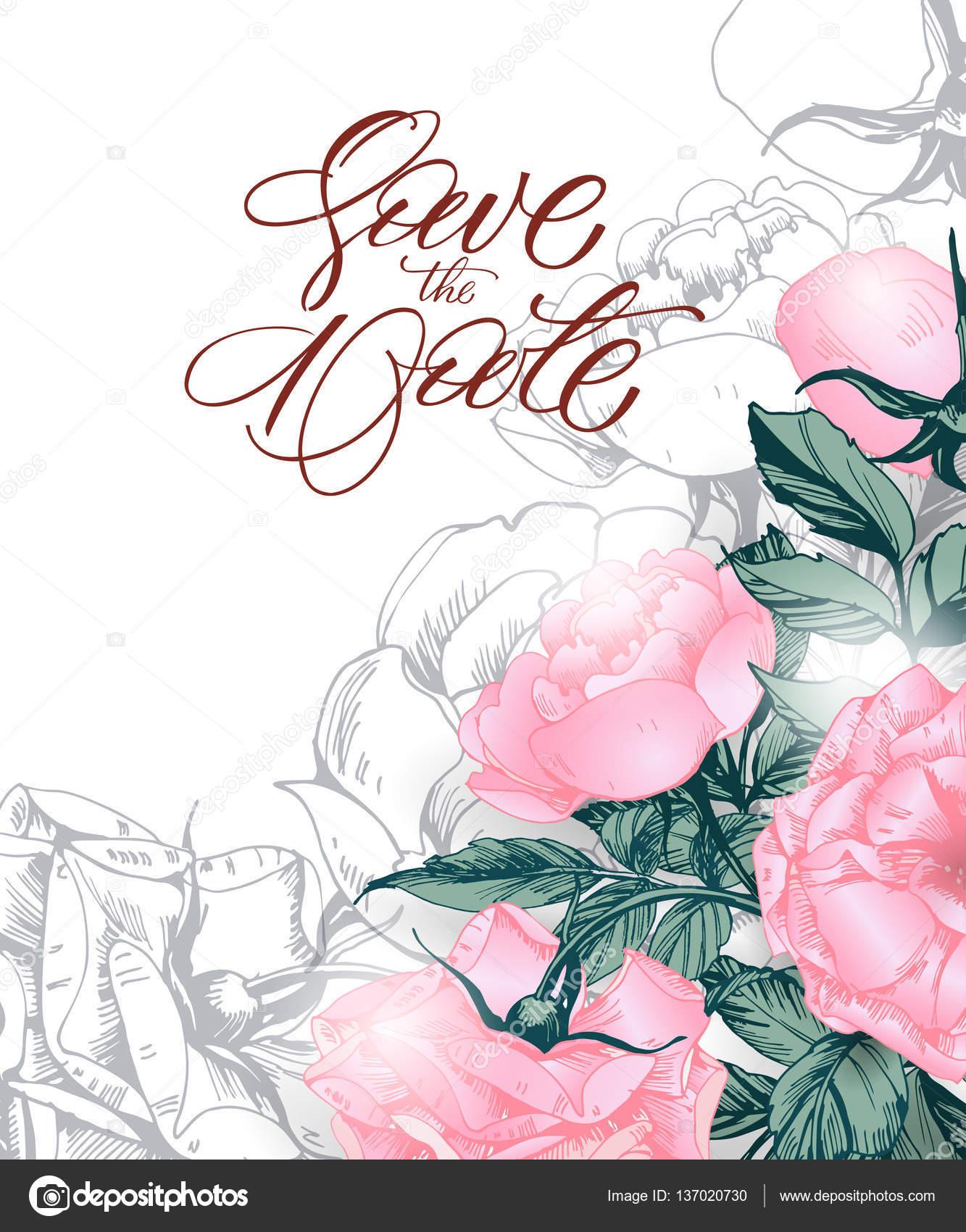 the date mit blühenden rosen. hochzeit einladung karte für, Einladung