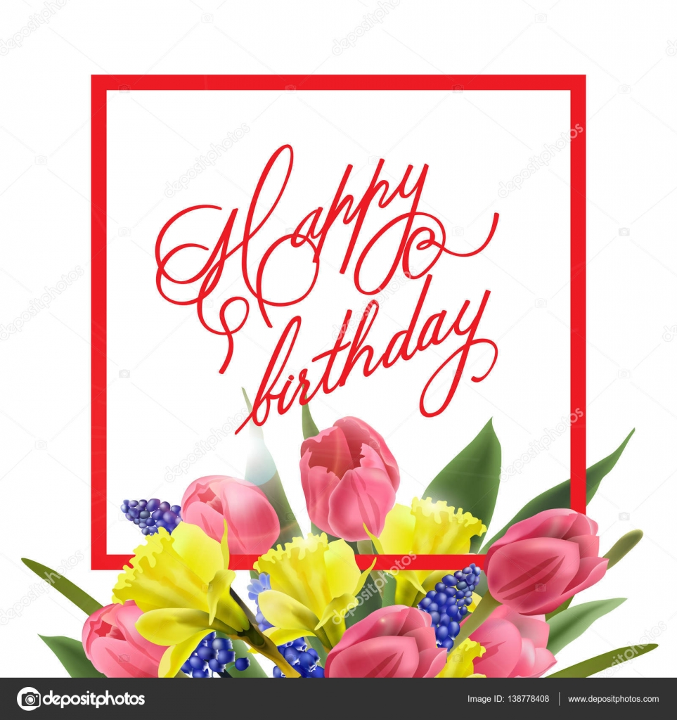 Happy birthday card with with spring flowers tulips daffodils happy birthday card with with spring flowers tulips daffodils muscari vector template kristyandbryce Gallery