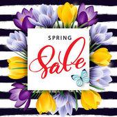 Fényképek Tavaszi eladó koncepció. Tavaszi virágzás krókuszok háttér. Sablon vektor