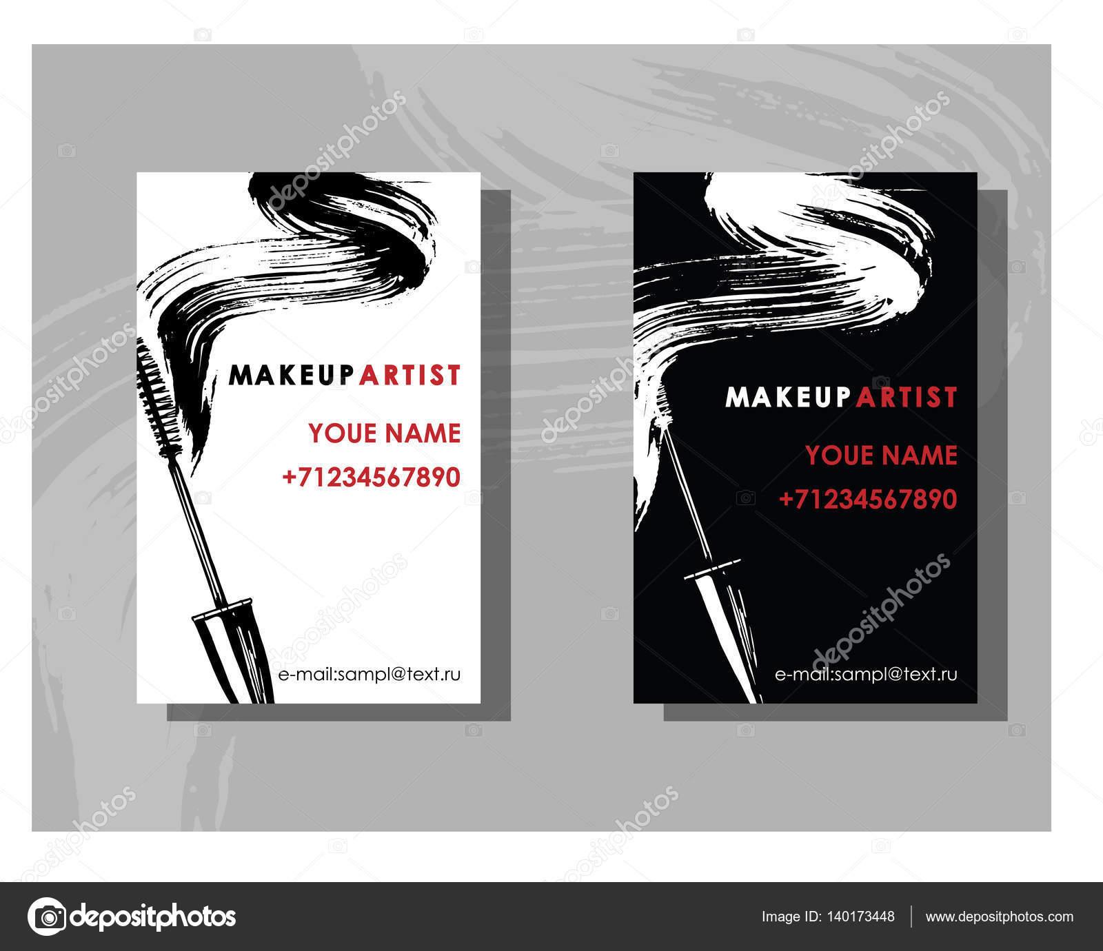 makeup artist business card vector template with makeup items