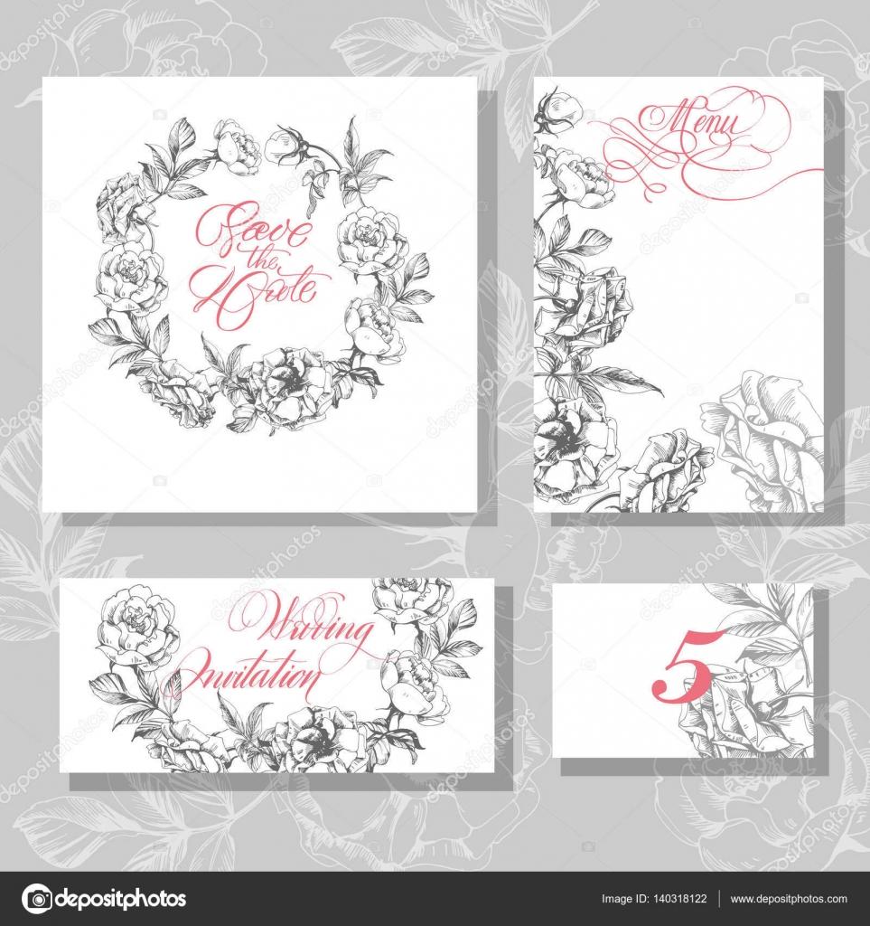 Hochzeit Einladungskarten mit blühenden Rosen Verwendung für ...