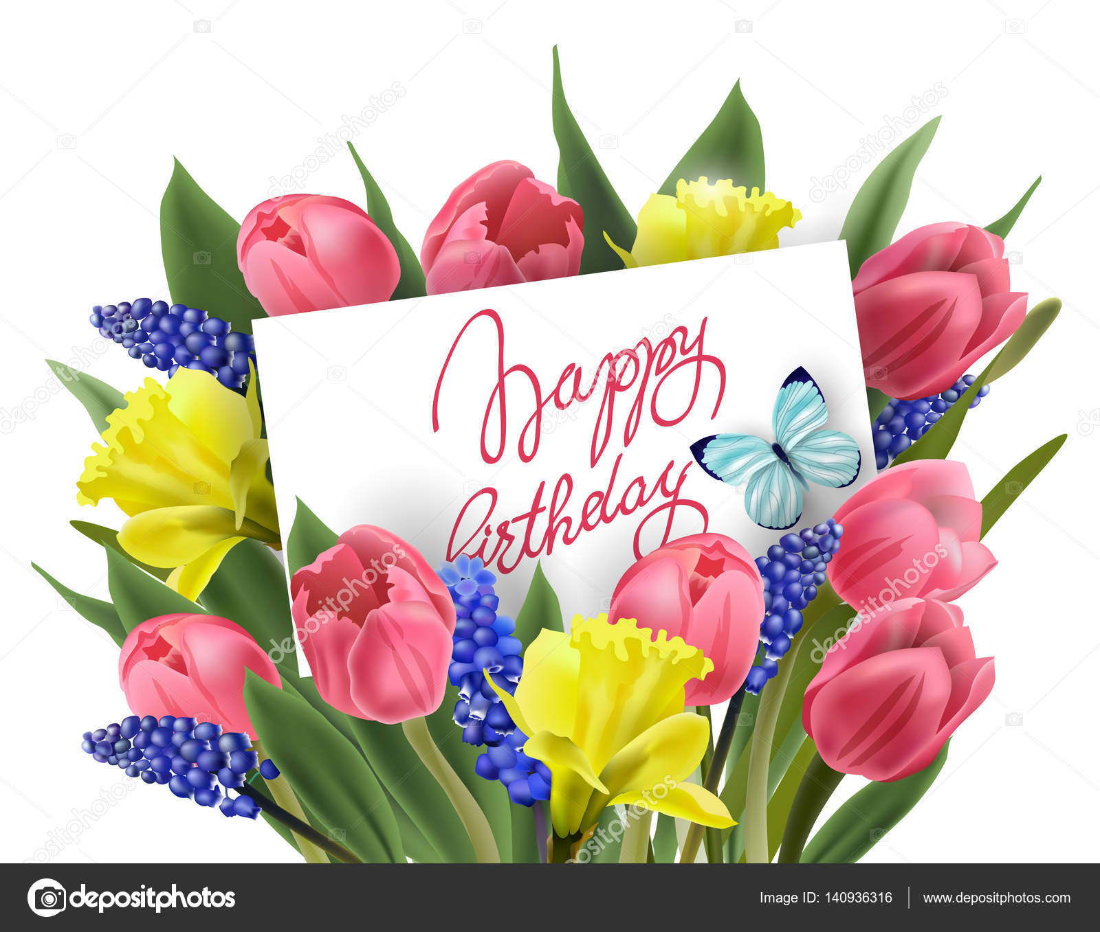 Happy Birthday Greeting Card With Bouquet Of Spring Flowers Tulips
