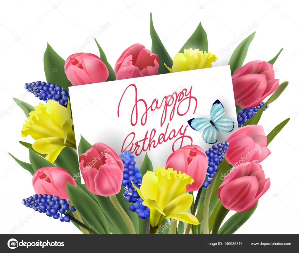 Genoeg Gelukkige verjaardag-wenskaart met boeket van lente bloemen tulpen  #CK-48