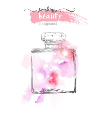Beautiful perfume bottle, on watercolor background. Beautiful and fashion background. Vector illustration.