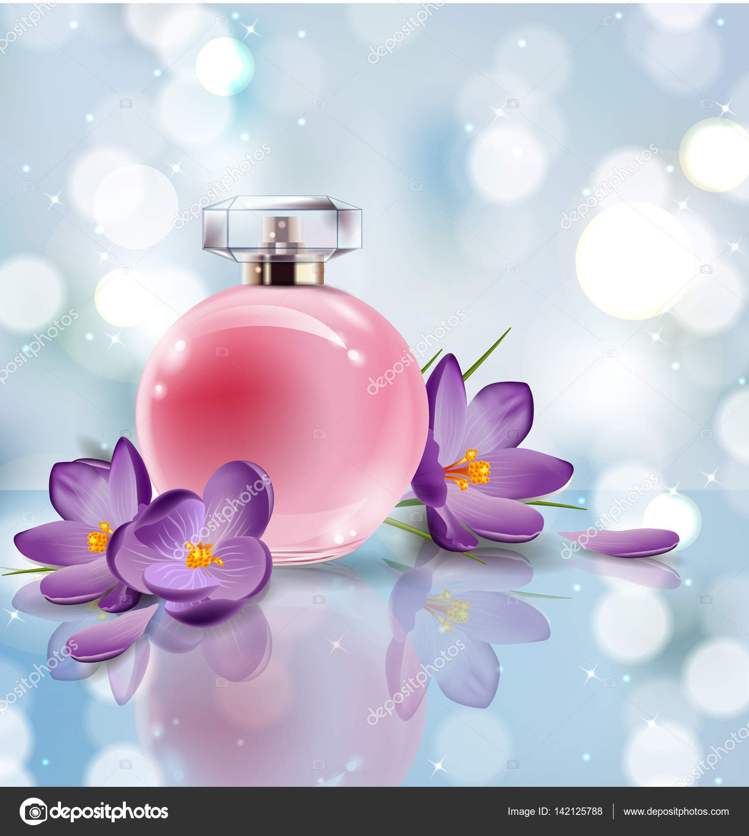 Pink bottle womens perfume with spring flowers crocuses on blurred pink bottle womens perfume with spring flowers crocuses on blurred background vector stock vector mightylinksfo