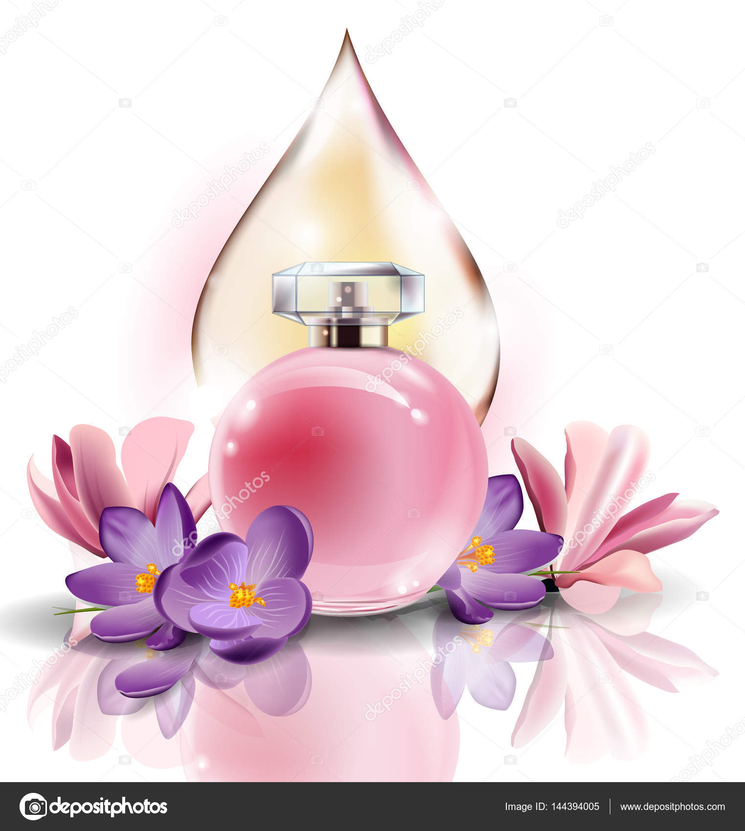 Pink bottle womens perfume with spring flowers crocuses and with a pink bottle womens perfume with spring flowers crocuses and with a drop of pink color mightylinksfo Gallery