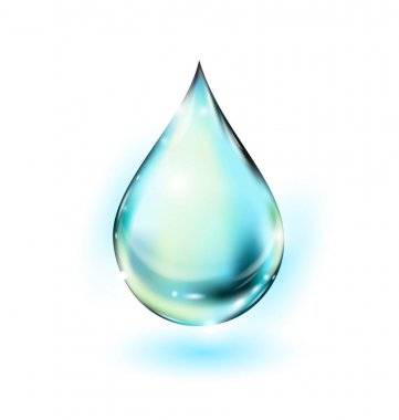 Water drop vector illustration. Clean water drop isolated on white. Falling water drop. Vector