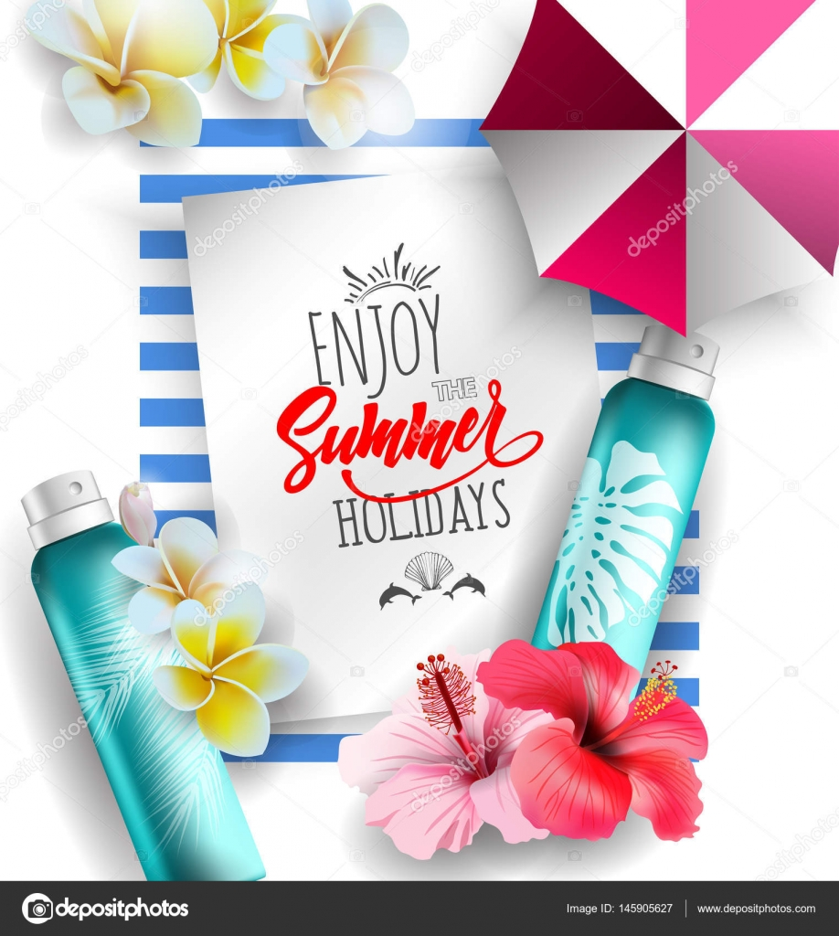 Cosmetics sunscreen products with tropical flowers Summer recreation