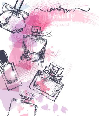 Beautiful perfume bottle, on watercolor background. Beautiful and fashion background. Vector
