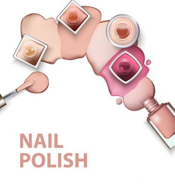 Close up of nail polish with drops of nail polish light pastel shades on white background. Perfect for advertising banners, booklet, magazines. Vector
