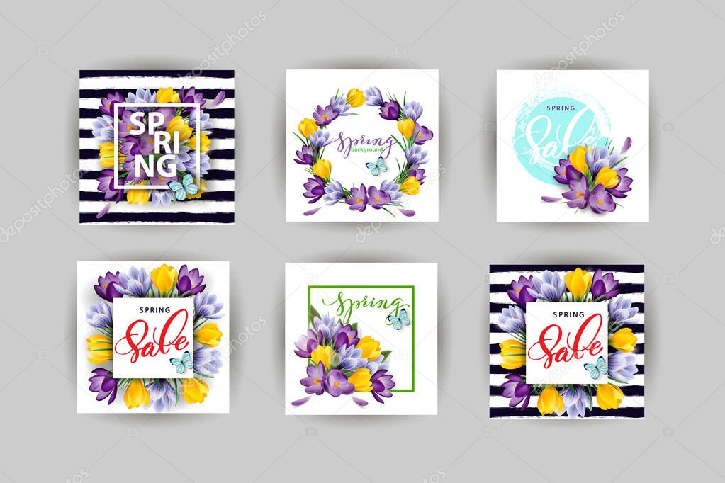 Vector set of vertical spring banners. Spring sale. Concept spring background There is place for your text.Vector template illustration
