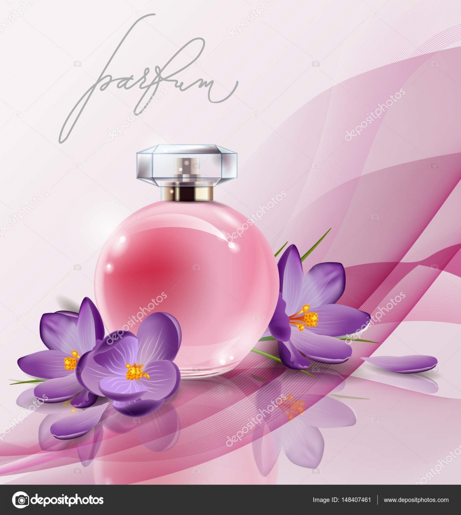Pink bottle womens perfume with spring flowers crocuses vector pink bottle womens perfume with spring flowers crocuses vector stock vector mightylinksfo