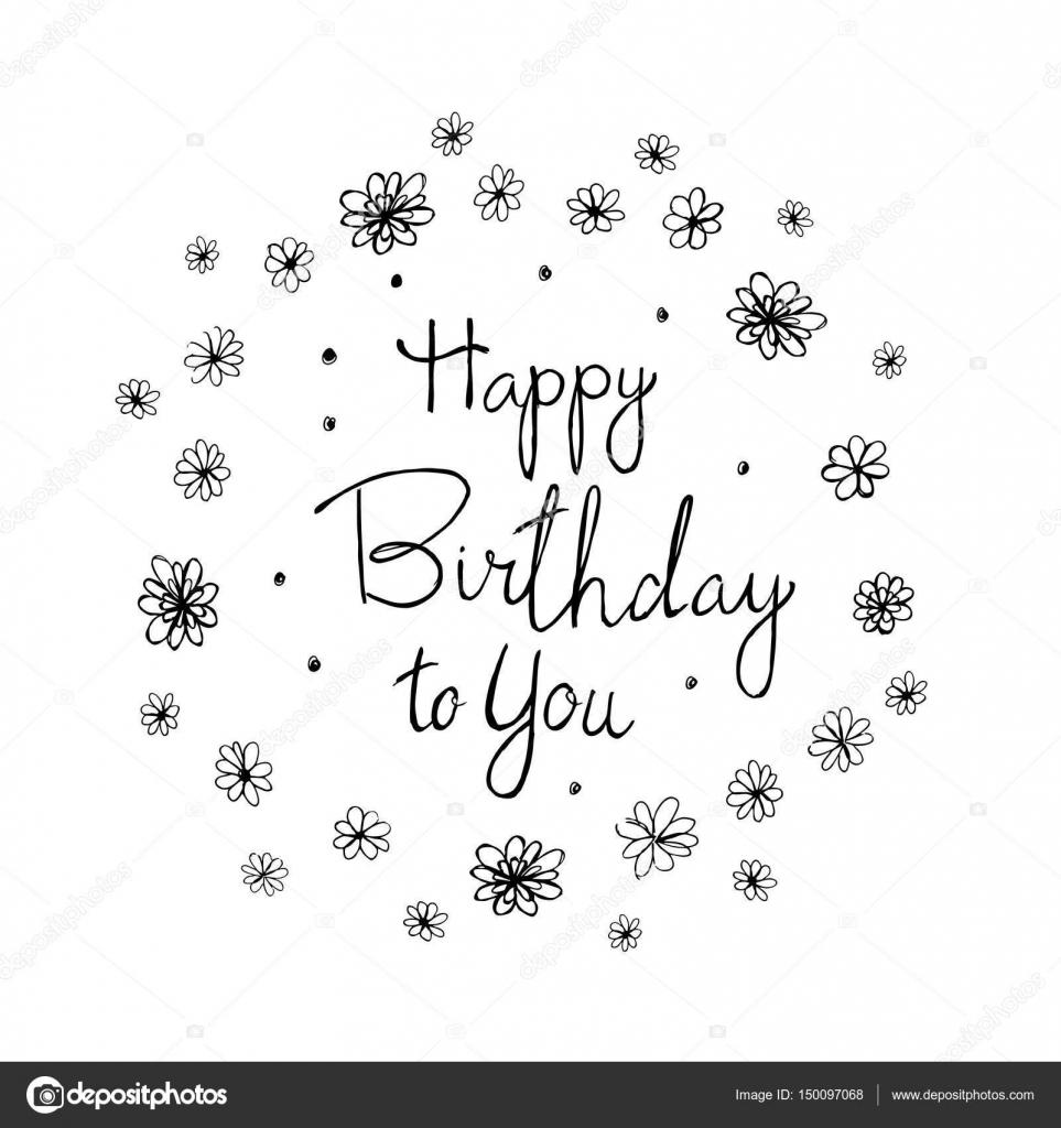 Tarjeta de felicitación del feliz cumpleaños. Vector de tipografía ...