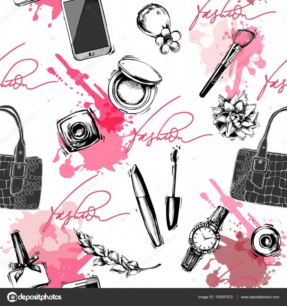 Fondo de moda y cosméticos con objetos de artista de maquillaje ...