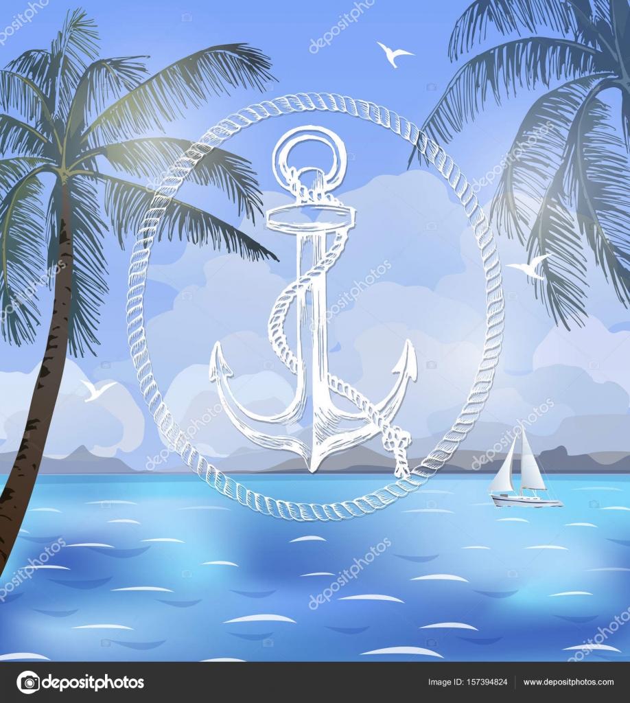 夏休みはベクトル イラストですビーチ美しい帆船ヤシの木美しい