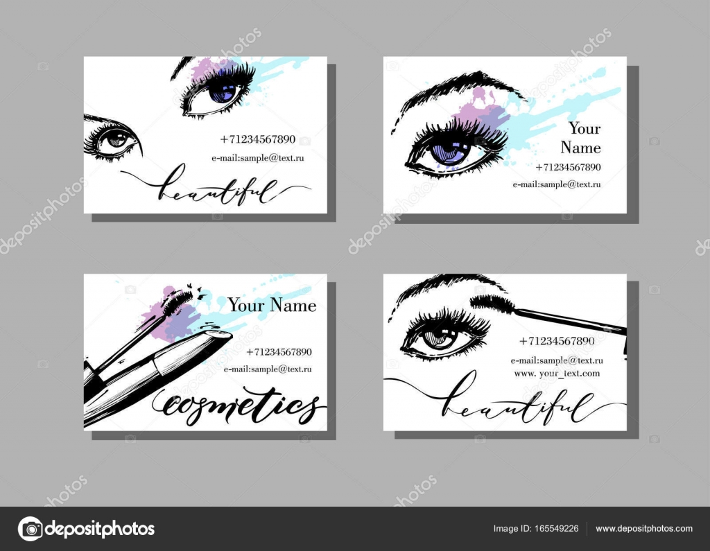 Makeup artist business card vector template with makeup items makeup artist business card vector template with makeup items pattern with beautiful female eyes alramifo Image collections