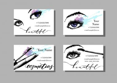Makeup artist business card. Vector template with makeup items pattern - with beautiful female eyes and mascara. Fashion and beauty background. Template Vector.