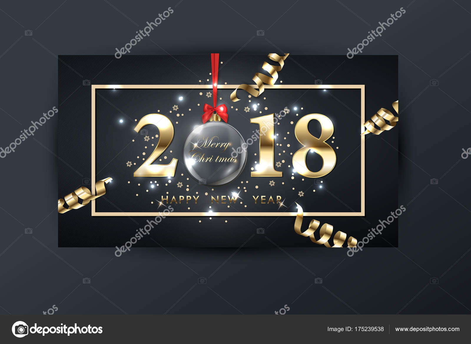 2018 vector happy new year background with gold serpentine with glass transparent christmas ball