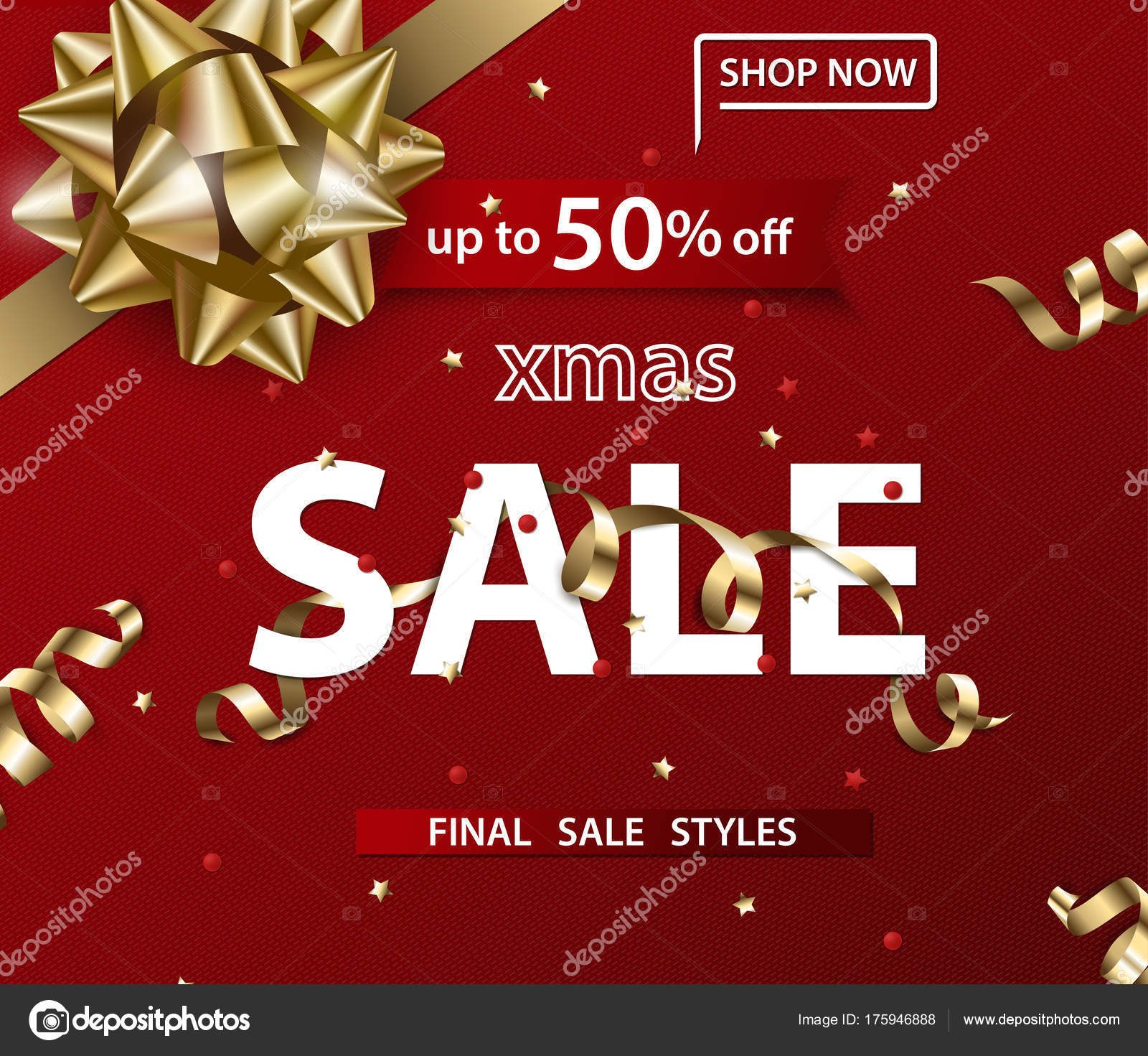 merry christmas and happy new year pattern of sales banners with christmas bow with decorations on - Christmas Eve Sales