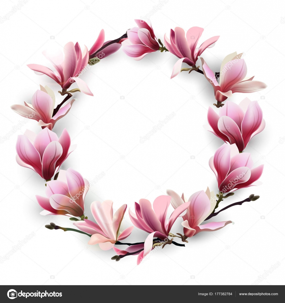 Wreath of delicate flowers pink magnolia template for birthday template for birthday cards mothers day card greeting card happy valentines day spring background banner invitations vector vector by galina72 m4hsunfo