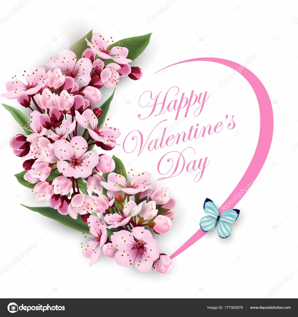 Greeting card happy valentines day with a heart of flowers pink greeting card happy valentines day with a heart of flowers pink cherry blossoms with blue butterfly template for birthday cards mothers day card spring izmirmasajfo