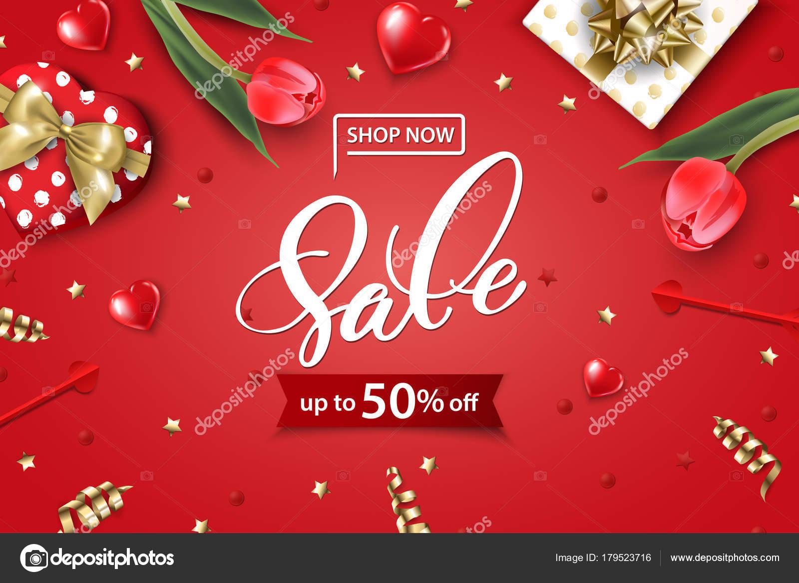 Valentinstag-Verkauf-Web-Banner. Draufsicht auf Komposition mit ...