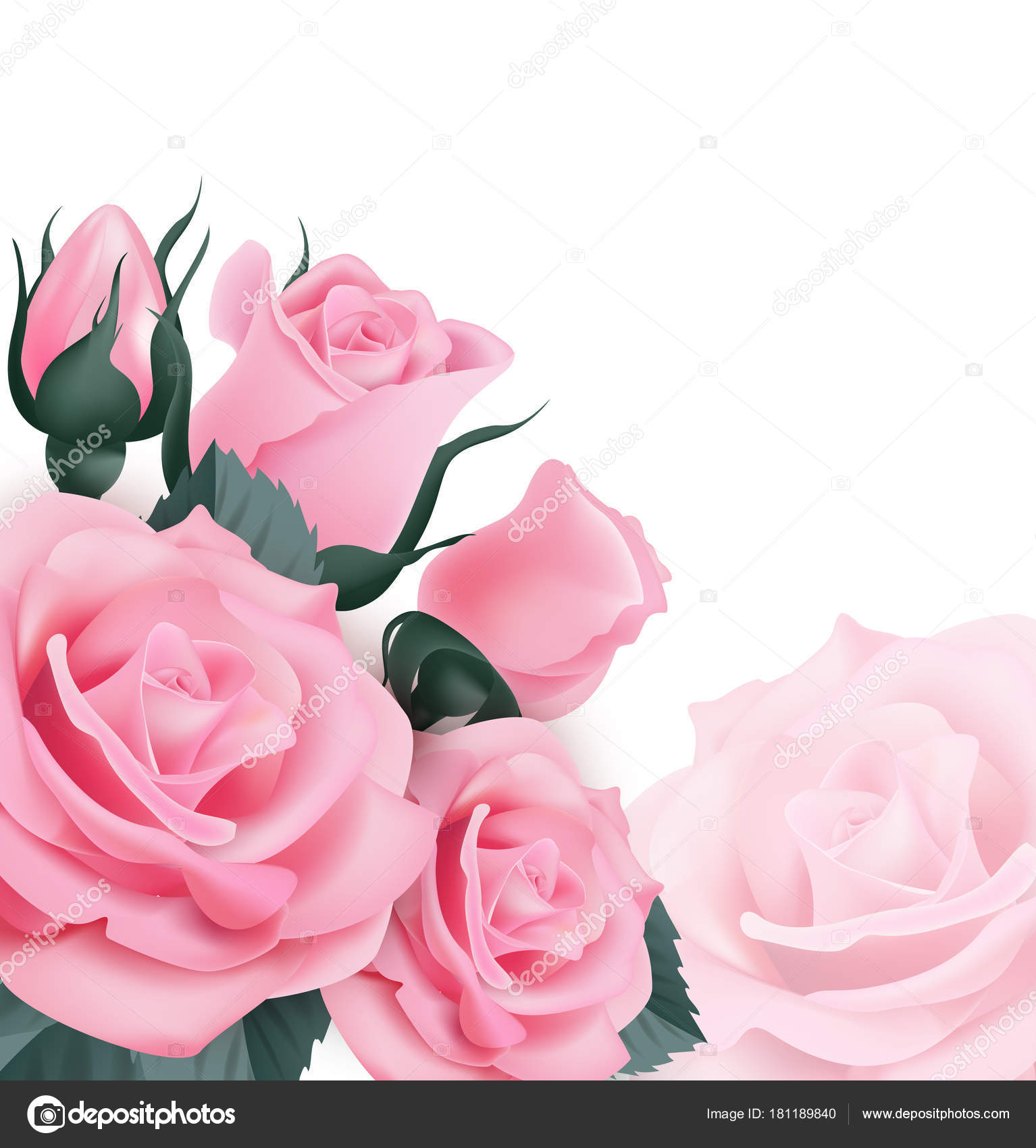 Inteligentny Różowe róże. Piękne kartki z życzeniami z bukietem róż na białe CQ69