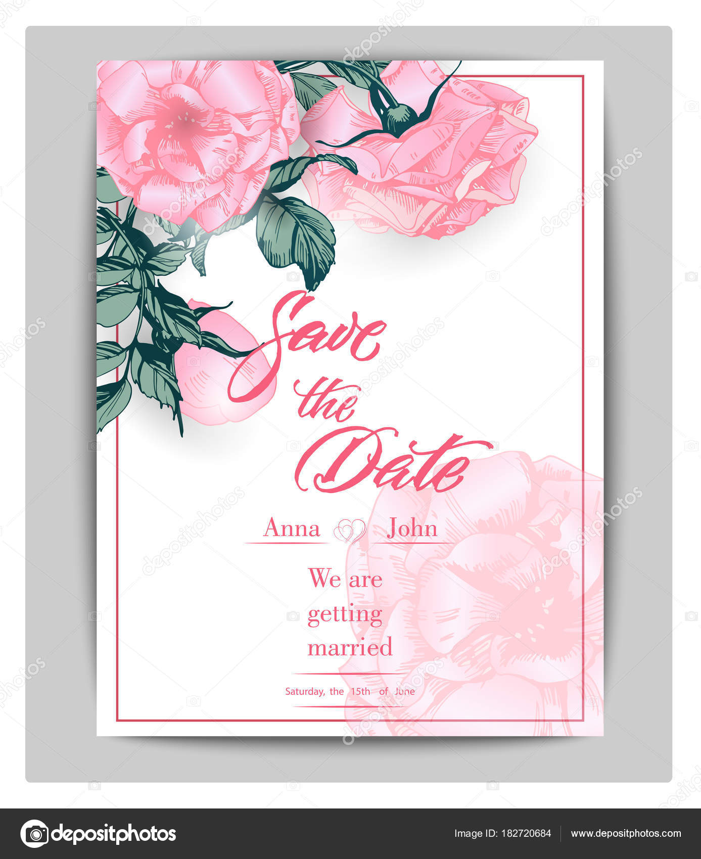 Save the date cards with roses can be used for wedding invitation save the date cards with roses can be used for wedding invitation birthday card invitation card vector template vector by galina72 stopboris Choice Image