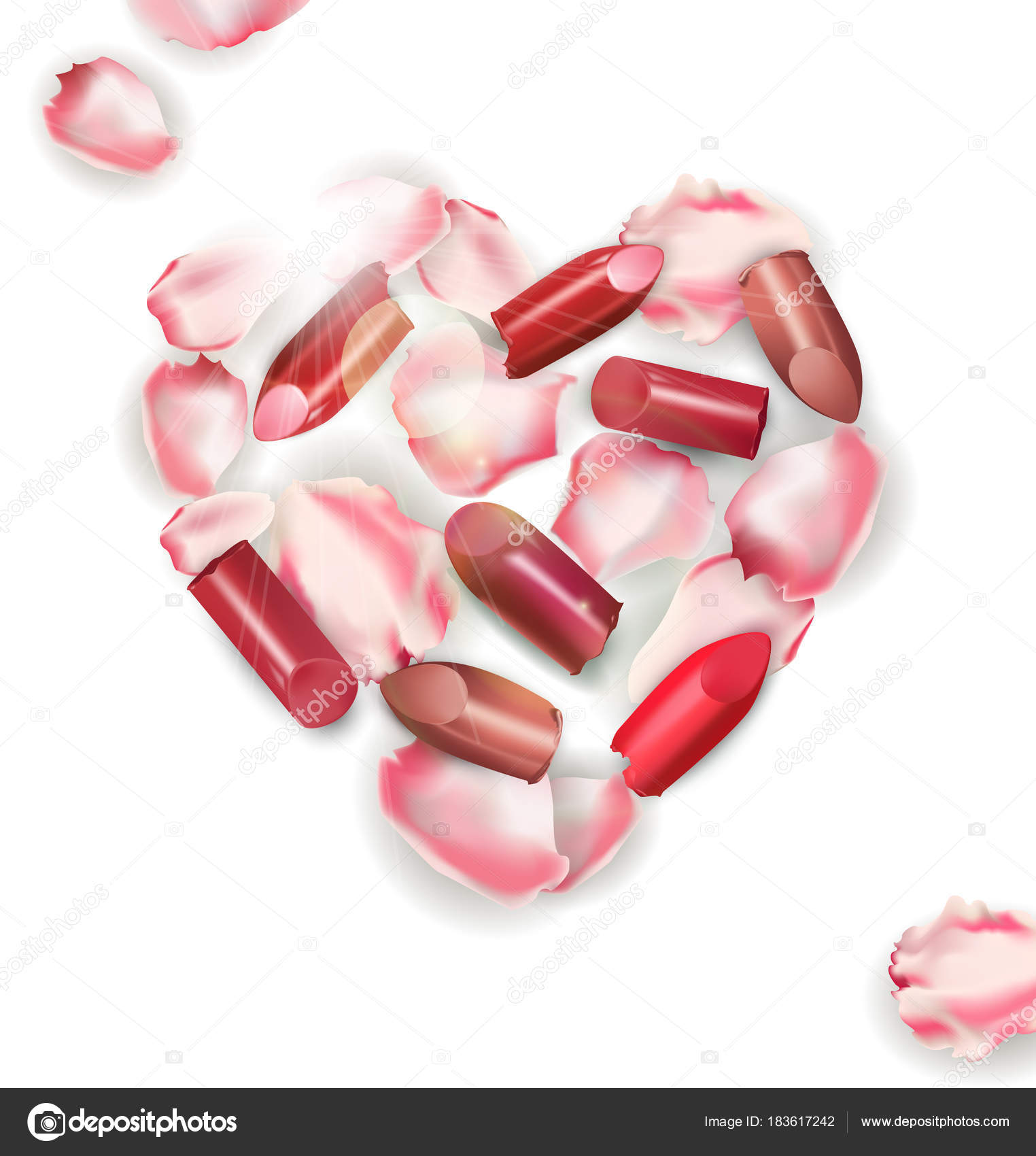 Rosas de pétalos de rosa en forma de corazón con rojo rosa labios ...