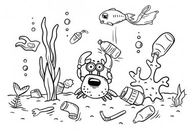 Sea animals suffer from ocean pollution with plastics, ecology and environment concept, coloring page