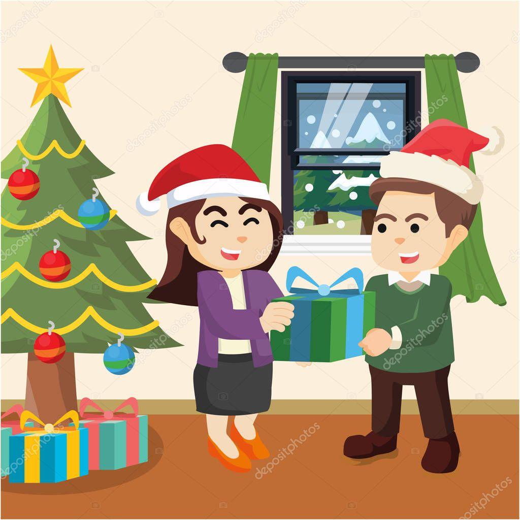 カップルのクリスマス プレゼントと — ストックベクター