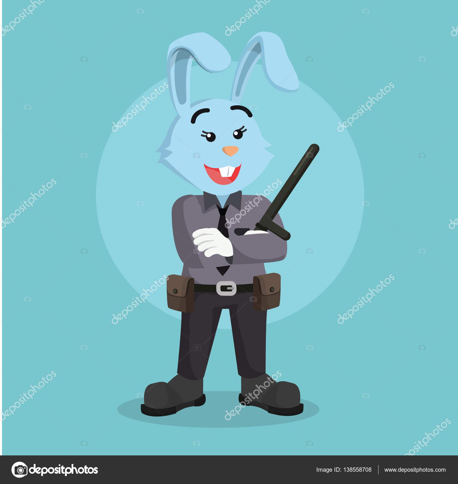 女性警察官ウサギ イラスト デザイン ストックベクター