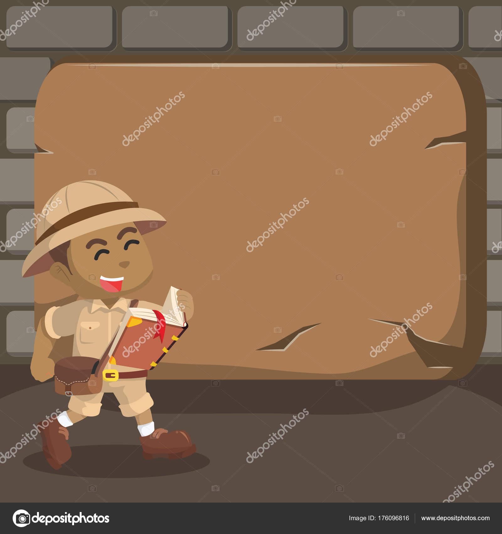 Esploratore archeologico del ragazzo del fumetto u vettoriali
