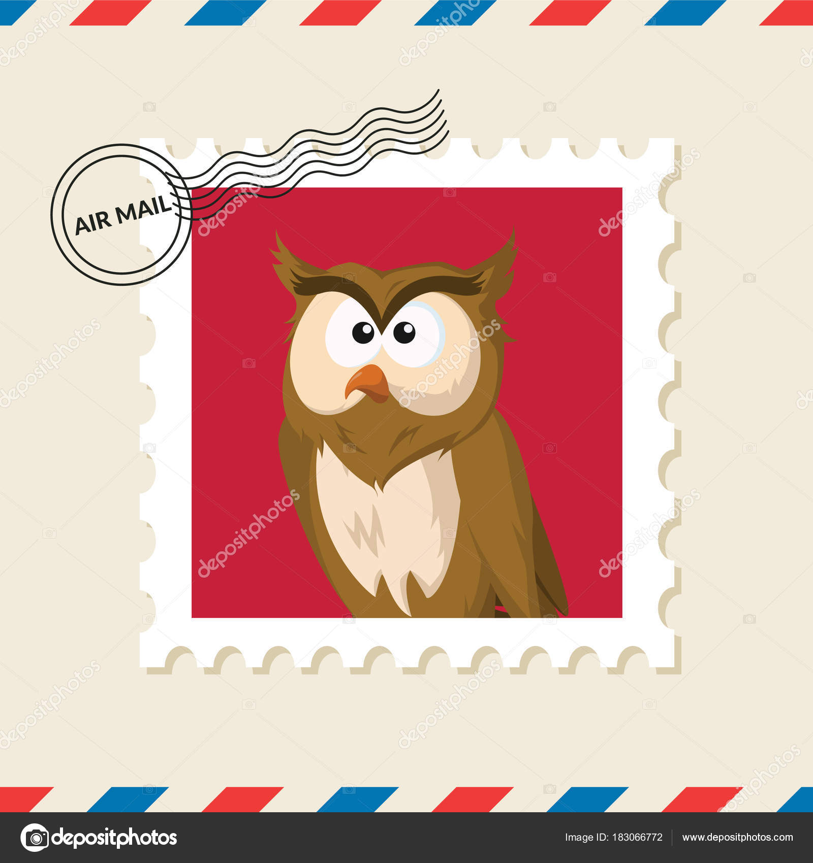 Owl Postage Stamp Air Mail Envelope Stock Vector