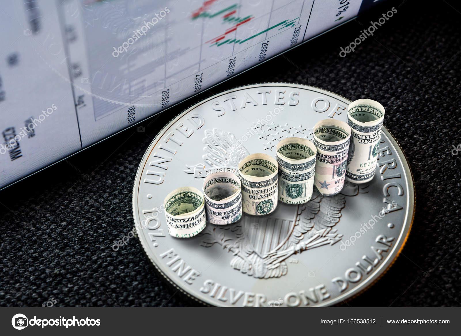 Silbermünze American Eagle Mit Dollar Steigende Schritte Bilden