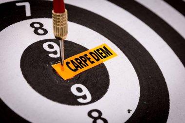 darts target with inscription carpe diem