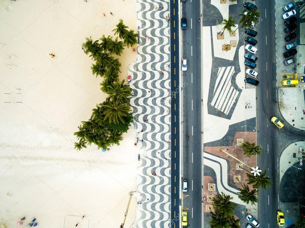 Top View of Umbrellas in a Copacabana Beach, Rio de Janeiro, Brazil