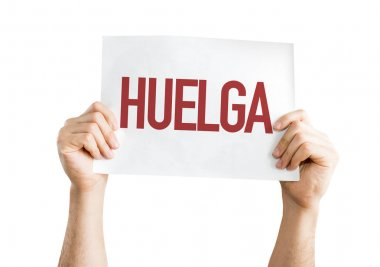 paper with sign Strike (in Spanish)