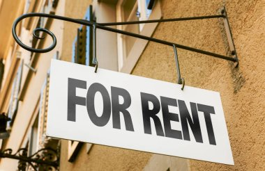 sign with inscription for rent