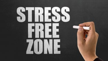 sign stress free zone on chalkboard