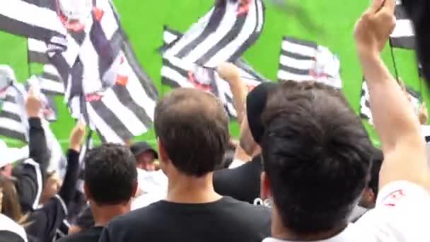 Sao Paulo, Brazílie - 07 května 2017: dav Soccer fanoušci slaví stadionu