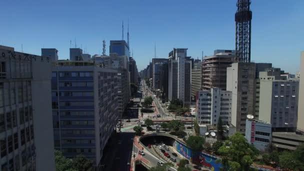Letecký pohled na Paulista Avenue, Sao Paulo, Brazílie