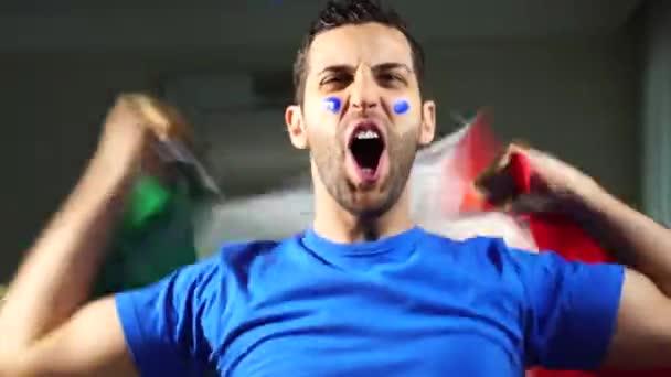 Italian Guy Celebrating with Italy Flag