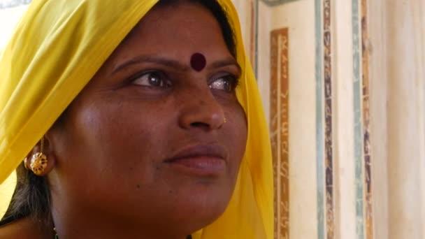 Traditional Indian Woman in sari Costume