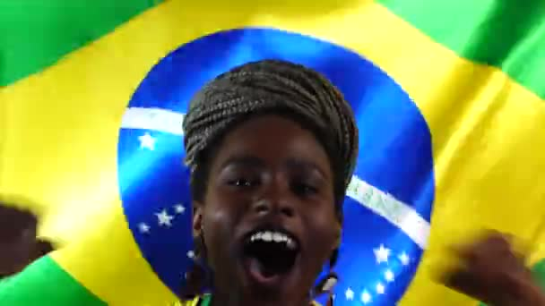 Brazilian Young Black Woman Celebrating with Brazil Flag